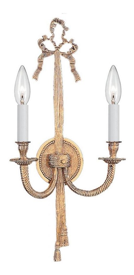 Crystorama Two Light Olde Brass Wall Light - 658-OB
