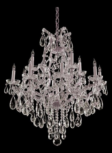 "Maria Theresa Collection 13-Light 28"" Polished Chrome Chandelier with Swarovski Spectra Crystal 4413-CH-CL-SAQ"