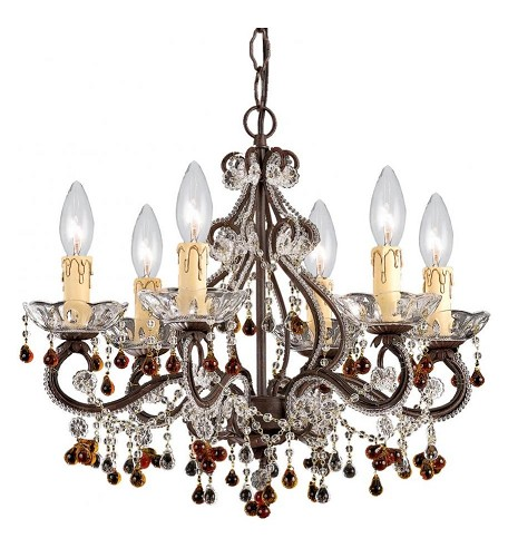 "Primrose Collection 6-Light 18"" Dark Rust Mini Chandelier with Murano Crystal 4507-DR"