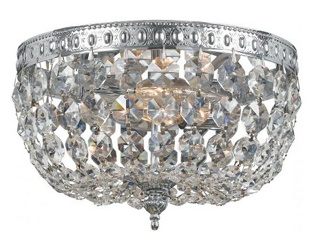 "Richmond Collection 2-Light 8"" Polished Chrome Flush Mount with Swarovski Spectra Crystal 708-CH-CL-SAQ"