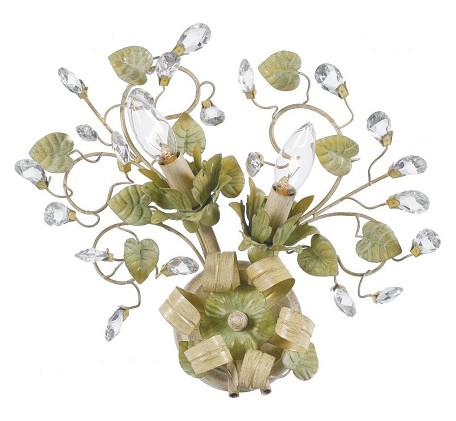 "Josie Collection 2-Light 13"" Champagne Green Tea Wall Sconce with Clear Hand Cut Crystal 4842-CT"
