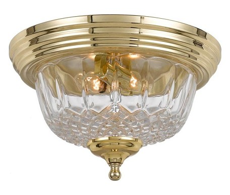 "Richmond Collection 2-Light 11"" Polished Brass Flush Mount with Lead Crystal 55-F-PB"