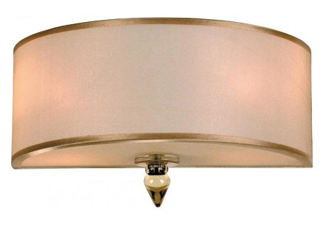 "Luxo Collection 2-Light 12"" Antique Brass Wall Sconce with Organza 9502-AB"