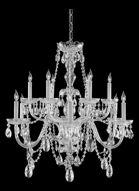 "Traditional Crystal Collection 12-Light 31"" Polished Chrome Chandelier with Swarovski Elements Crystal 1135-CH-CL-S"