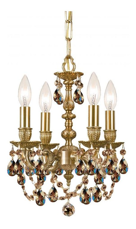 "Gramercy Collection 4-Light 11"" Aged Brass Mini Chandelier with Golden Teak Swarovski Elements Crystal 5504-AG-GTS"