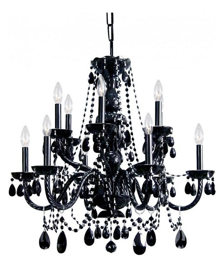 "12-Light 31"" Black Chandelier with Hand Cut Crystal 1135-BK-BK-MWP"