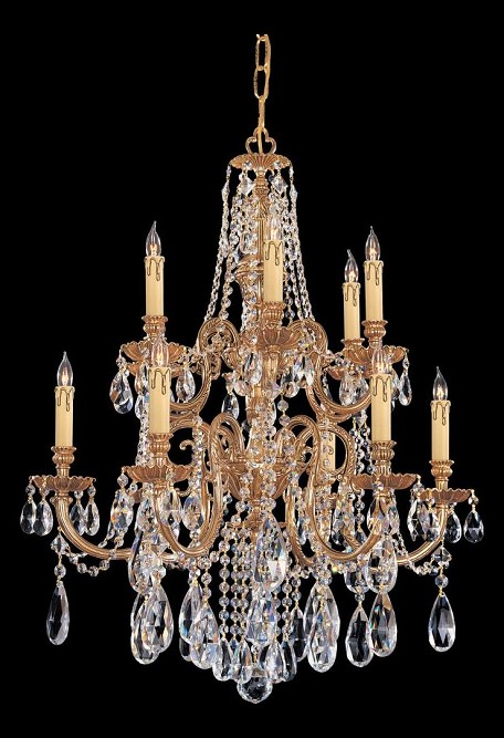 "Novella Collection 12-Light 26"" Olde Brass Chandelier with Swarovski Elements Crystal 2712-OB-CL-S"