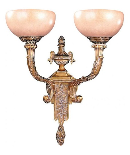 "Natural Alabaster Collection 2-Light 22"" French White Wall Sconce with Alabaster Stone 952-WH"