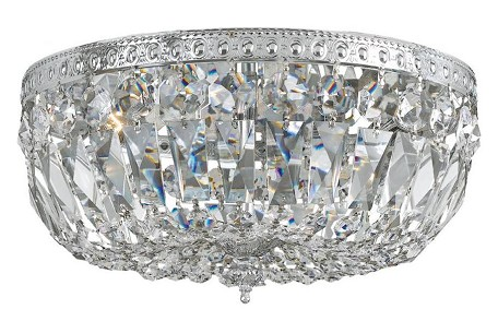 "Richmond Collection 3-Light 12"" Polished Chrome Flush Mount with Hand Polished Crystal 712-CH-CL-MWP"