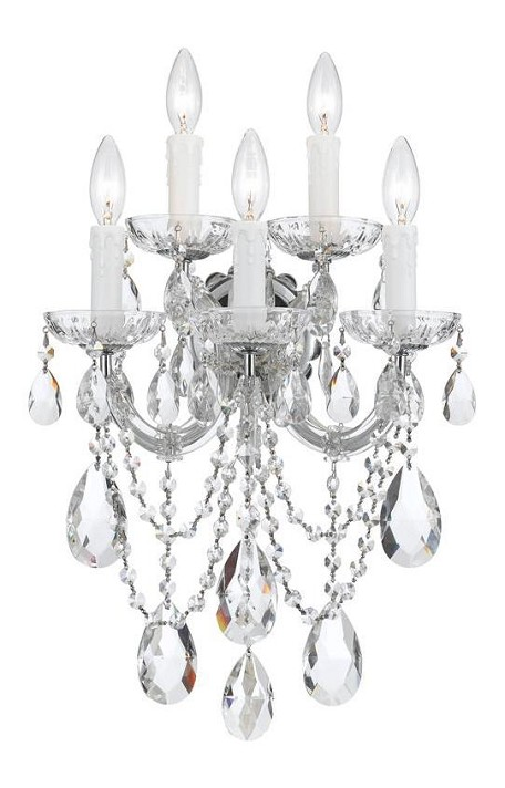 "Maria Theresa Collection 5-Light 13"" Polished Chrome Wall Sconce with Crystal Beads 4425-CH-CL-MWP"