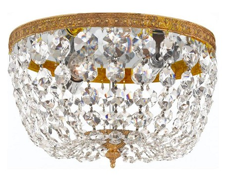 "Richmond Collection 2-Light 8"" Olde Brass Flush Mount with Hand Polished Crystal 708-OB-CL-MWP"