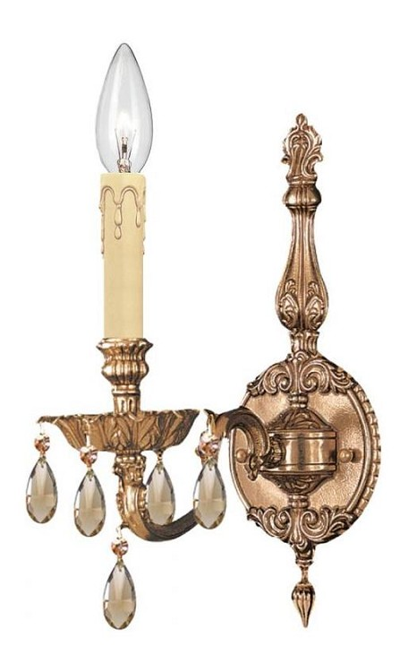 "Novella Collection 1-Light 5"" Olde Brass Wall Sconce with Golden Teak Hand Cut Crystal 2501-OB-GT-MWP"