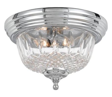 "Richmond Collection 2-Light 13"" Polished Chrome Flush Mount with Lead Crystal 55-F-CH"