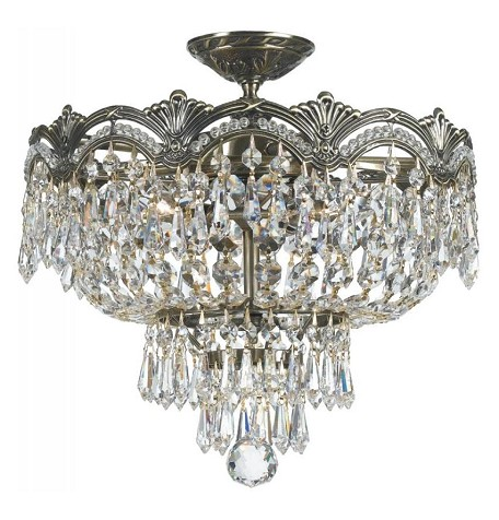 "Majestic Collection 3-Light 14"" Historic Brass Semi-Flush Mount with Swarovski Spectra Crystal 1483-HB-CL-SAQ"