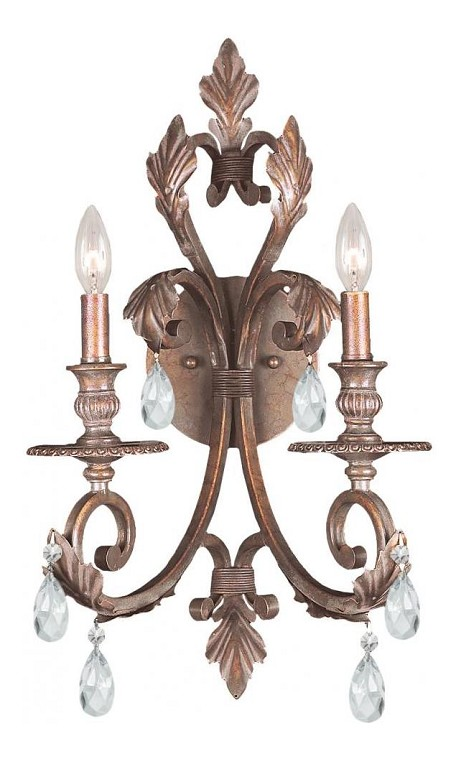 "Royal Collection 2-Light 12"" Florentine Bronze Wall Sconce with Hand Polished Crystal 6902-FB-CL-MWP"