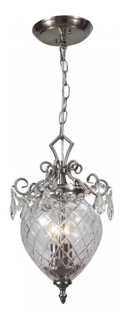 "Avery Collection 2-Light 14"" Polished Chrome Convertible Pendant / Semi-Flush Mount with Clear Hand Cut Crystal and Clear Glass 265-CH-CL-MWP"