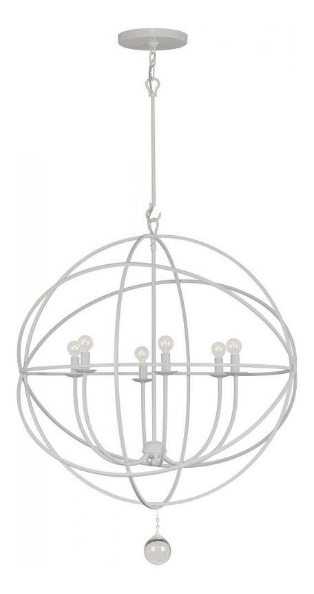 "Solaris Collection 6-Light 28"" Wet White Chandelier with Clear Smooth Balls 9228-WW"