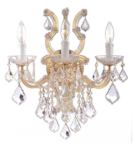 "Maria Theresa Collection 3-Light 17"" Wall Sconce with Hand Polished Crystal 4433-GD-CL-MWP"