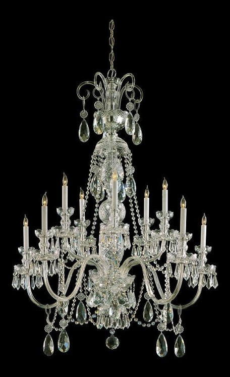 "Traditional Crystal Collection 10-Light 36"" Polished Brass Chandelier with Swarovski Elements Crystal 5020-PB-CL-S"