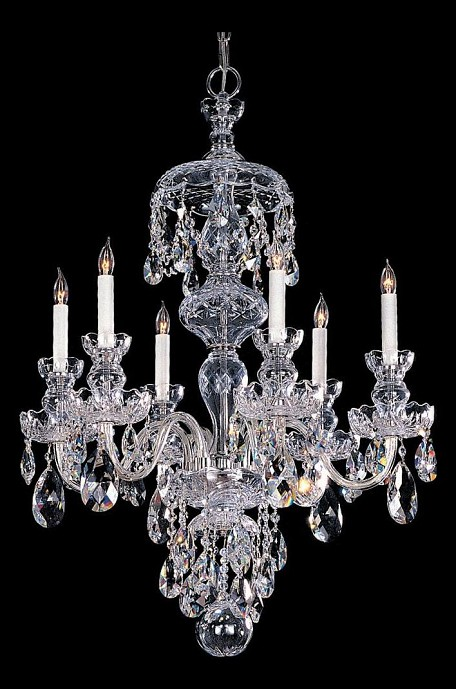 "Traditional Crystal Collection 6-Light 25"" Polished Chrome Chandelier with Swarovski Elements Crystal 1146-CH-CL-S"