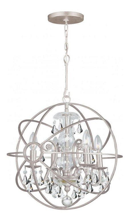 "Solaris Collection 4-Light 17"" Olde Silver Mini Chandelier with Clear Hand Cut Crystal 9025-OS-CL-MWP"