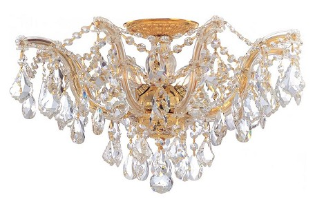 "Maria Theresa Collection 5-Light 19"" Semi-Flush Mount with Swarovski Spectra Crystal 4437-GD-CL-SAQ"