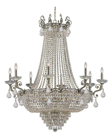 "Majestic Collection 20-Light 46"" Historic Brass Chandelier with Swarovski Spectra Crystal 1488-HB-CL-SAQ"