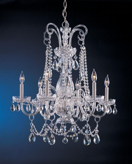 Polished Chrome / Hand Polished Waterfall 6 Light Crystal Candle Style Chandelier