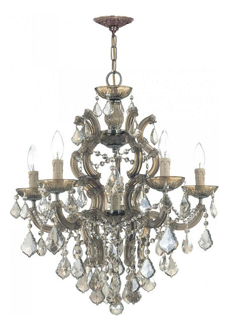 "Maria Theresa Collection 6-Light 23"" Antique Brass Chandelier 4435-AB-GT-MWP"