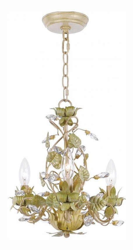 "Josie Collection 3-Light 13"" Champagne Green Tea Mini Chandelier with Clear Hand Cut Crystal 4843-CT"