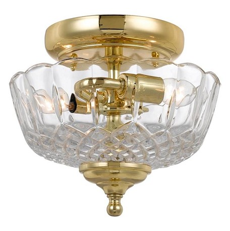 "Richmond Collection 2-Light 9"" Polished Brass Semi-Flush Mount with Lead Crystal 55-SF-PB"