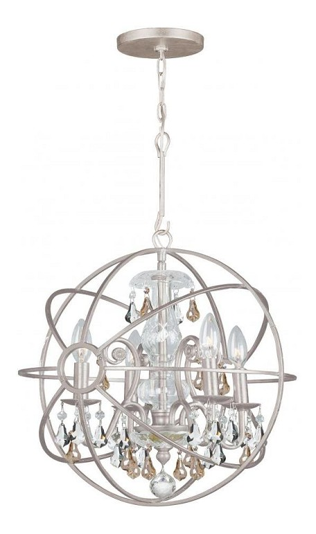 "Solaris Collection 4-Light 17"" Olde Silver Mini Chandelier with Golden Shadow Hand Cut Crystal 9025-OS-GS-MWP"