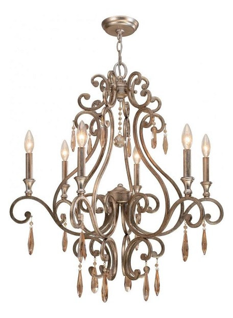 "Shelby Collection 6-Light 28"" Distressed Twilight Chandelier with Golden Shadow Hand Cut Crystal 7526-DT"