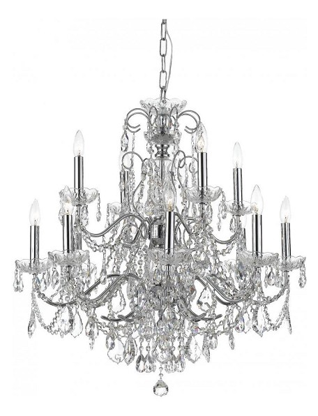 "Imperial Collection 12-Light 27"" Polished Chrome Chandelier with Swarovski Spectra Crystal 3228-CH-CL-SAQ"