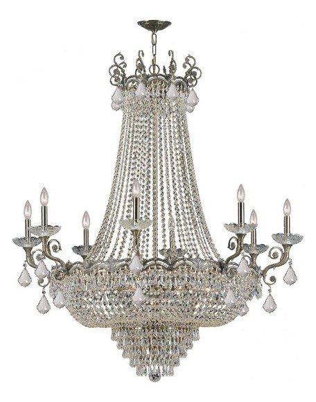 Historic Brass Majestic 20 Light 46in. Wide Cast Brass Empire Chandelier with Clear Hand Cut Crystal and Candle Style Accents