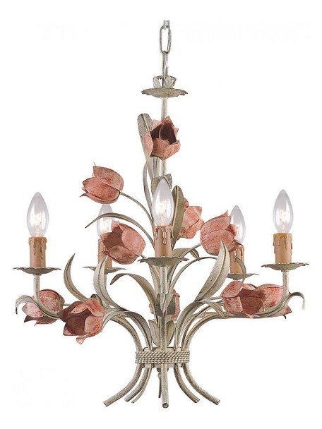 "Southport Collection 5-Light 20"" Sage/Rose Mini Chandelier 4805-SR"