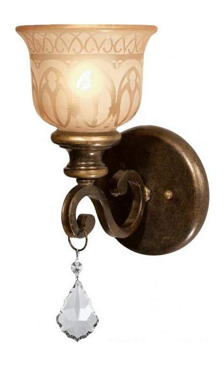 "Norwalk Collection 1-Light 6"" Bronze Umber Wall Sconce with Swarovski Spectra Crystal 7501-BU-CL-SAQ"