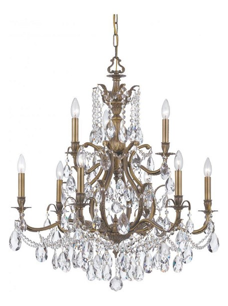 Crystorama Nine Light Antique Brass Clear Hand Cut Glass Up Chandelier - 5579-AB-CL-MWP