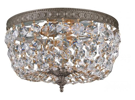 "Richmond Collection 2-Light 10"" English Bronze Flush Mount with Hand Polished Crystal 710-EB-CL-MWP"