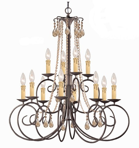"SOHO Collection 12-Light 32"" Dark Rust Chandelier 5212-DR-GT-MWP"