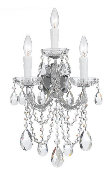 "Maria Theresa Collection 3-Light 11"" Polished Chrome Wall Sconce with Swarovski Spectra Crystal 4423-CH-CL-SAQ"