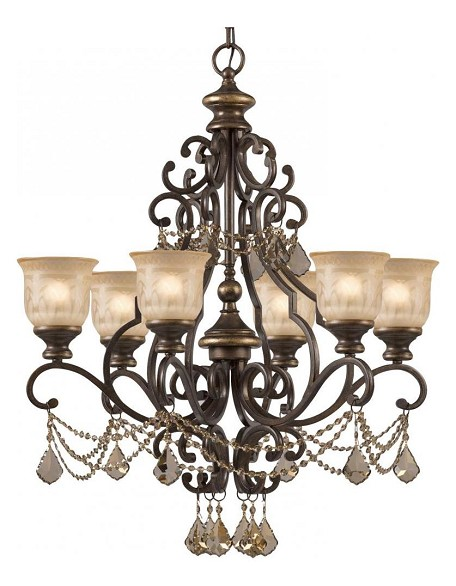 "Norwalk Collection 6-Light 28"" Bronze Umber Chandelier with Golden Teak Swarovski Elements Crystal 7516-BU-GTS"