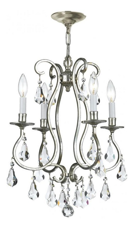 Crystorama Four Light Hand Polished Glass Old Silver Up Chandelier - 5014-OS-CL-MWP