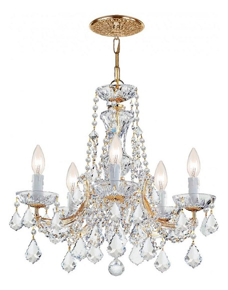 "Maria Theresa Collection 5-Light 20"" Gold Mini Chandelier with Swarovski Elements Crystal 4476-GD-CL-S"
