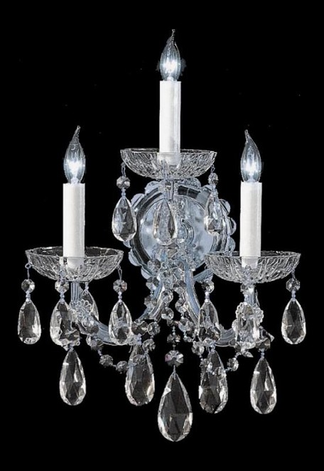 "Maria Theresa Collection 3-Light 14"" Polished Chrome Wall Sconce with Swarovski Elements Crystal 4403-CH-CL-S"