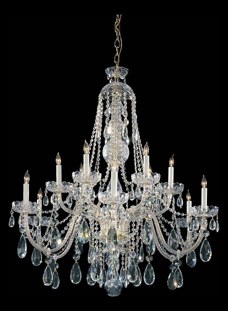 "Traditional Crystal Collection 12-Light 36"" Polished Brass Chandelier with Swarovski Spectra Crystal 1112-PB-CL-SAQ"