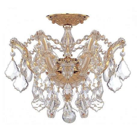 "Maria Theresa Collection 3-Light 13"" Semi-Flush Mount with Hand Polished Crystal 4430-GD-CL-MWP"