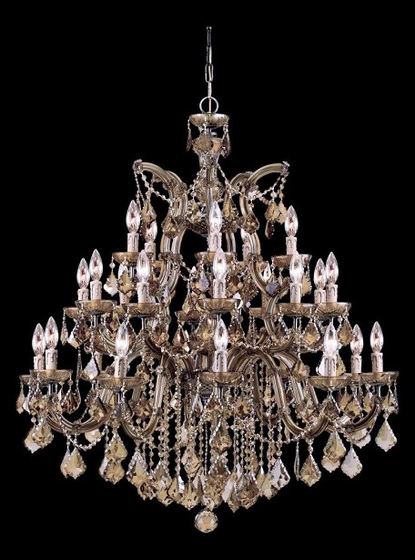 Crystorama Twenty Six Light Antique Brass Golden Teak Swarovski Elements Glass Up Chandelier - 4470-AB-GTS