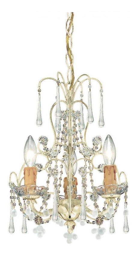 "Ella Collection 3-Light 12"" Champagne Mini Chandelier with Murano Crystal 4523-CM"