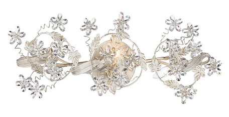 "Abbie Collection 3-Light 25"" Antique White Wall Sconce with Hand Polished Crystal 5304-AW"